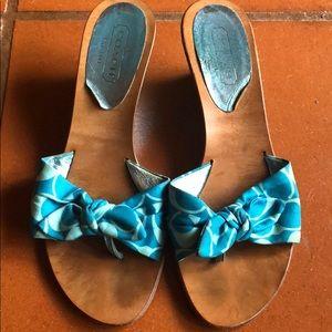 🌴Coach Logo Wedge Sandals- Size 8- Blue